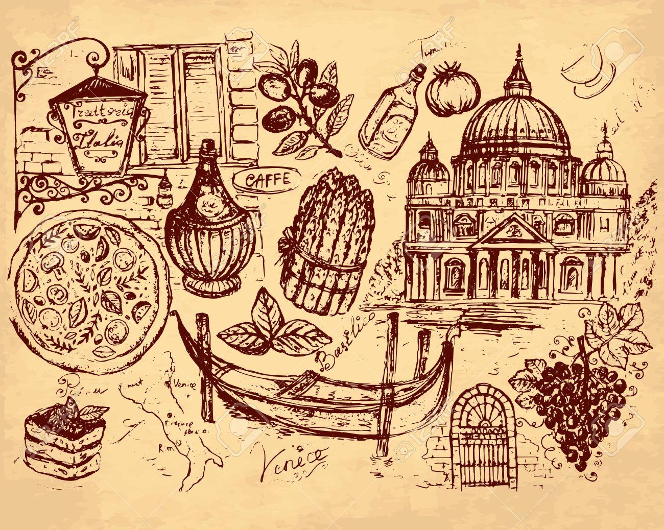 hand drawn illustration with Italian symbols Stock Vector - 17921424