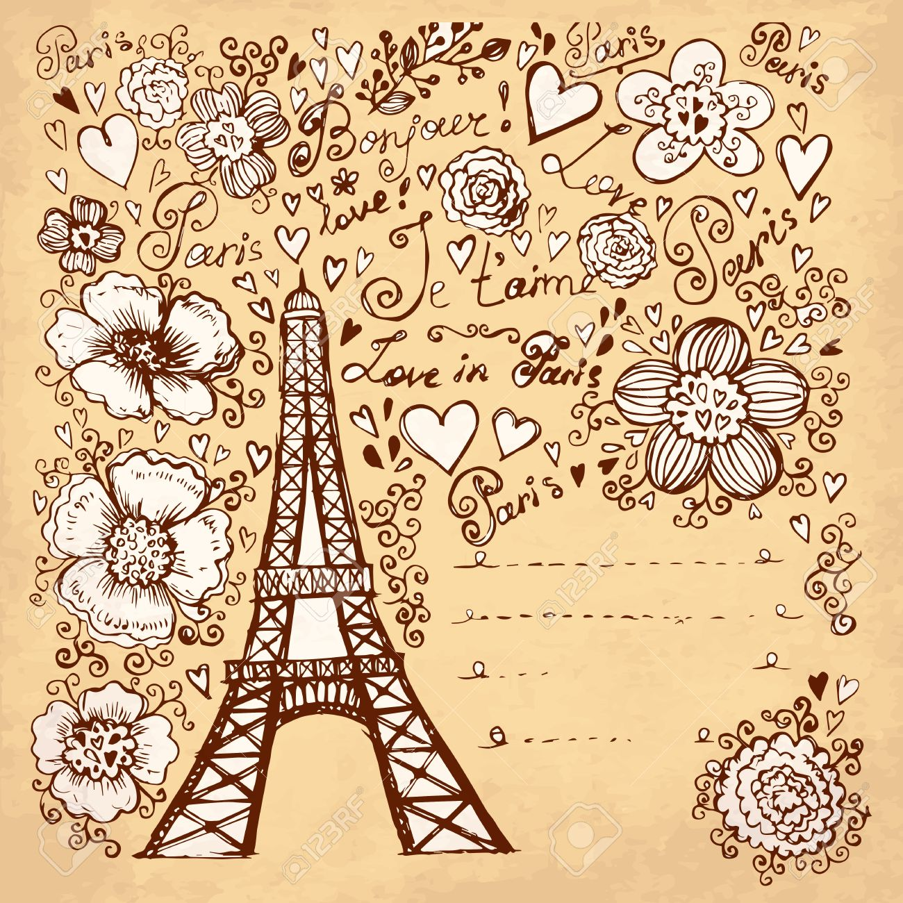 Hand Drawn Illustration With Pais Eiffel Tour Ilustraciones ...