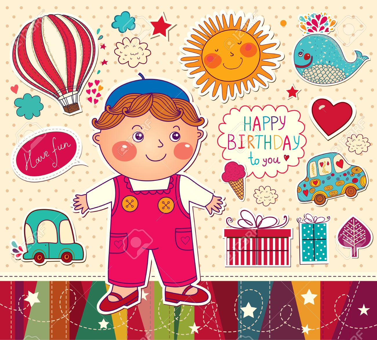 Happy Birthday Card With Boy And Toys Stock Vector