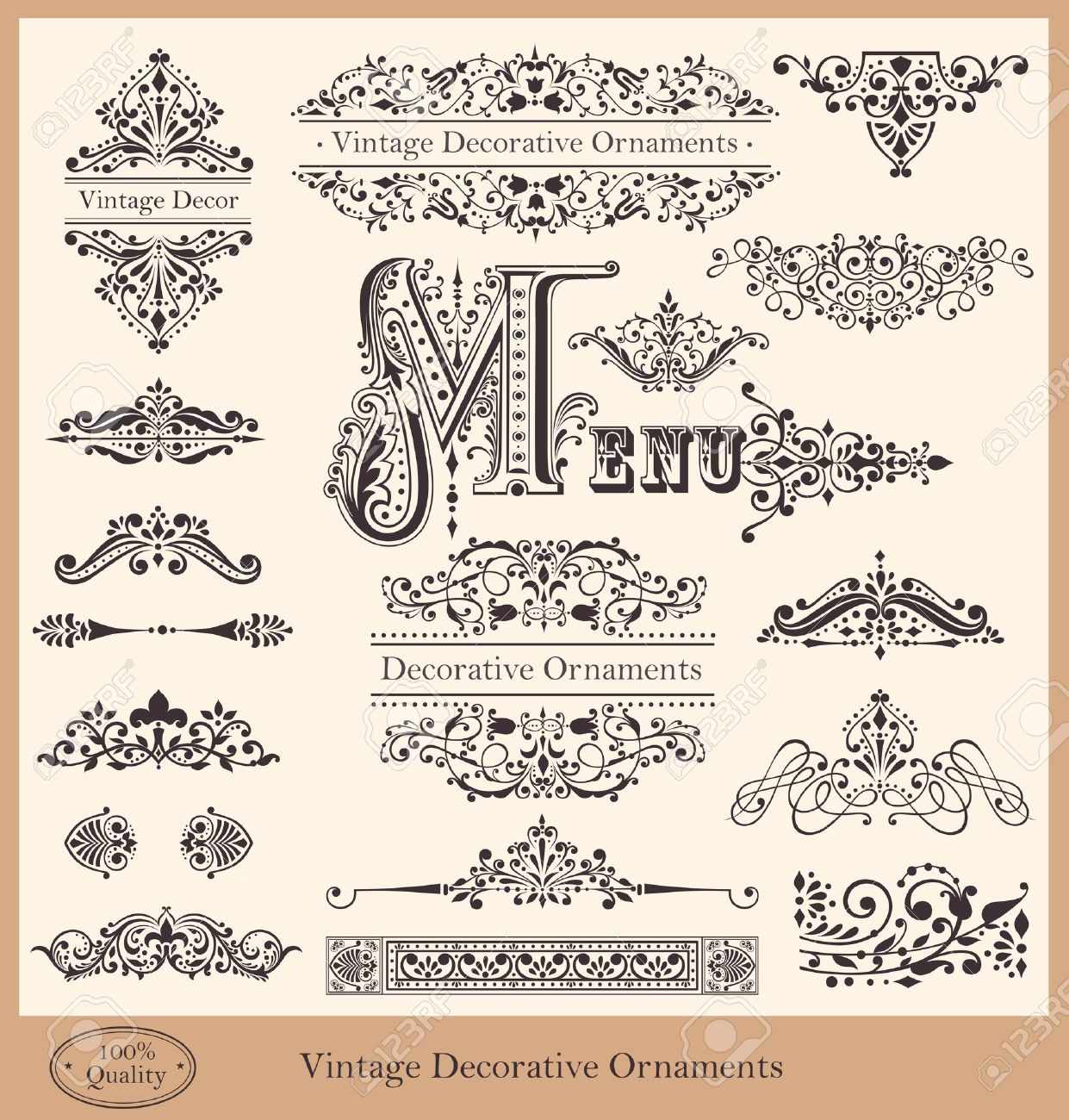 Vector collection of detailed vintage borders, ornaments and elements of decoration Stock Vector - 19756899