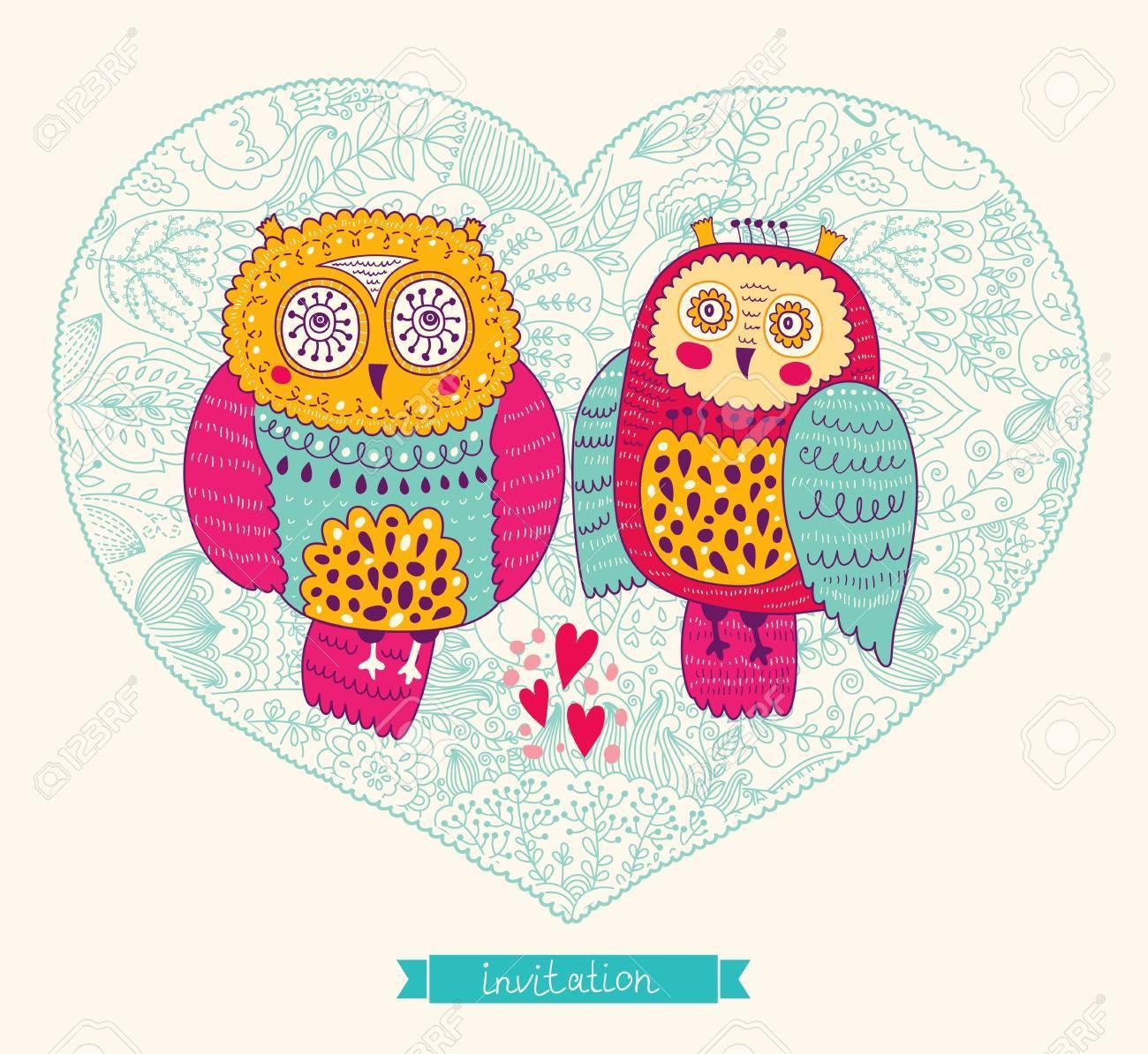 Vector wedding invitation with cute owls Stock Vector - 20331318