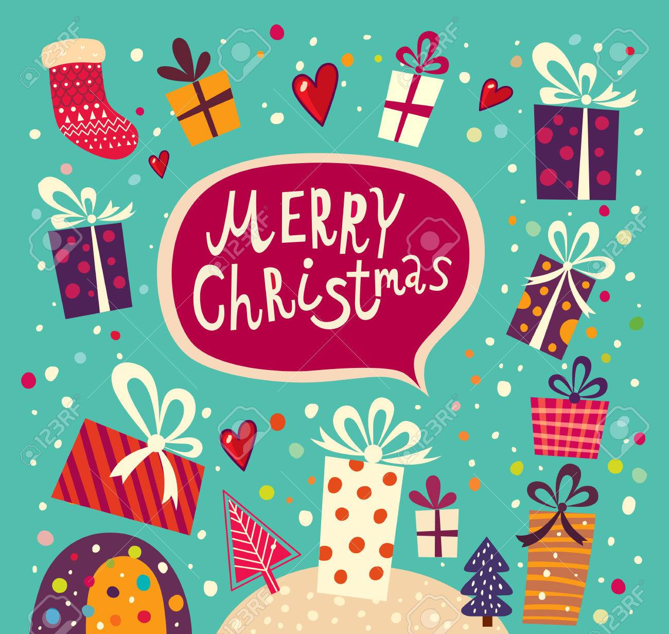 Christmas Card With Gift Boxes Royalty Free Cliparts, Vectors, And ...