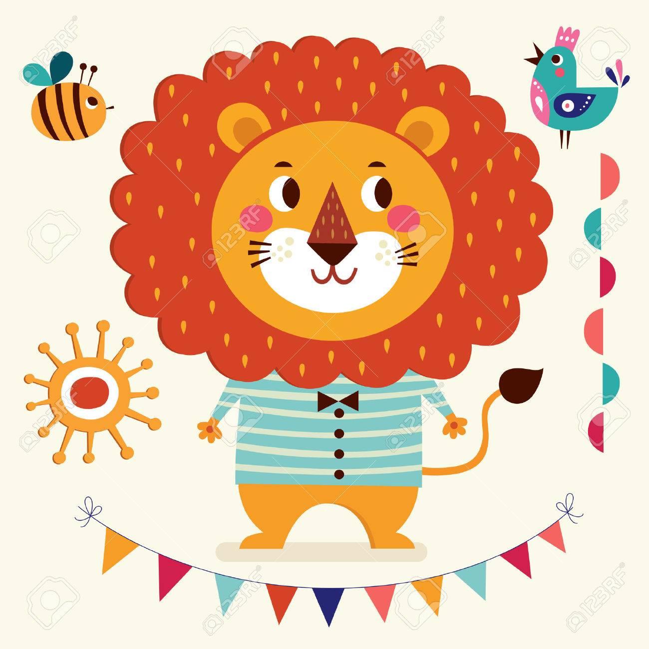 ベクトル イラスト漫画の素朴なスタイル素敵なかわいいライオンライオンの男の子と赤ちゃん誕生カード