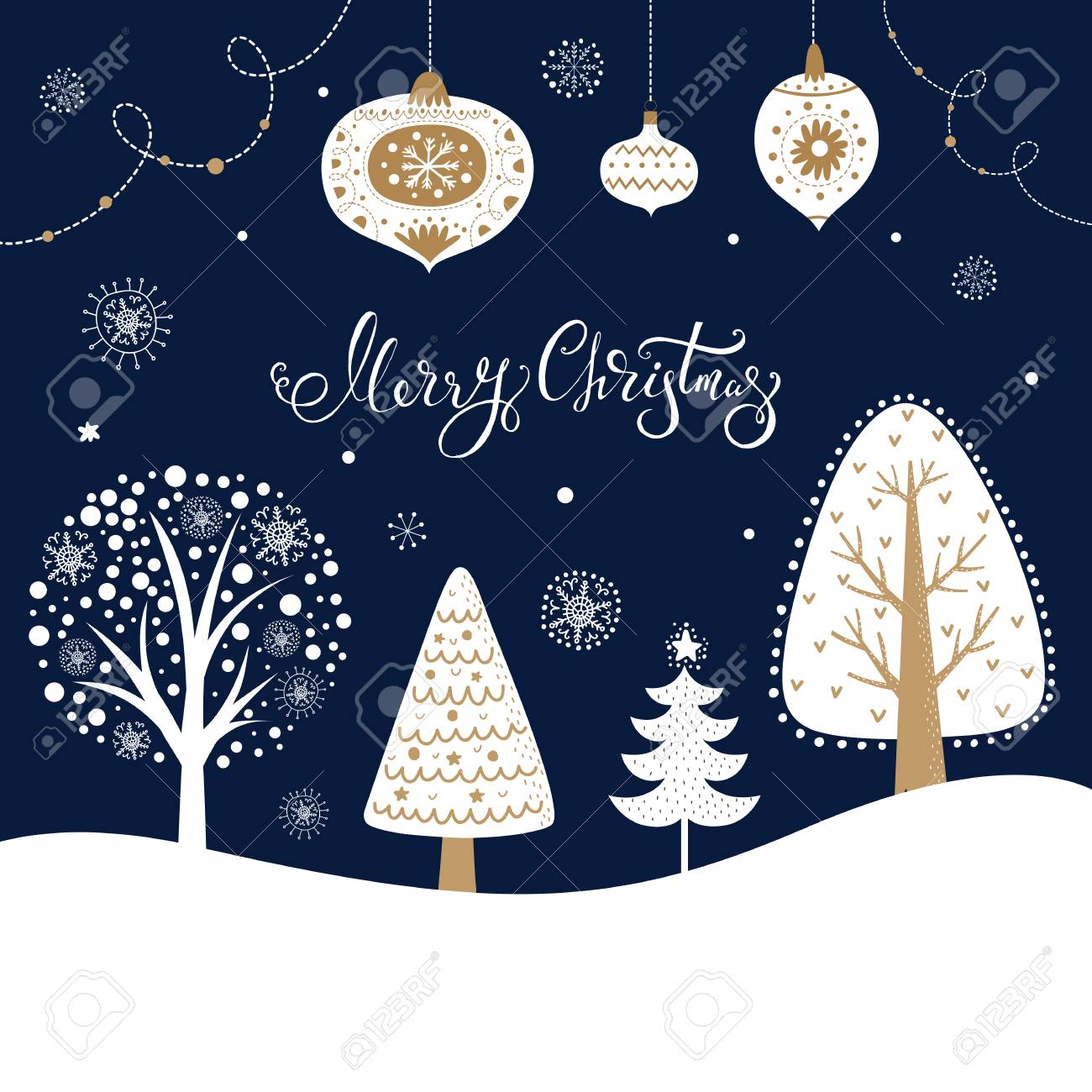 Christmas illustration with trees, fir tree, snowflakes and toys - 90921961