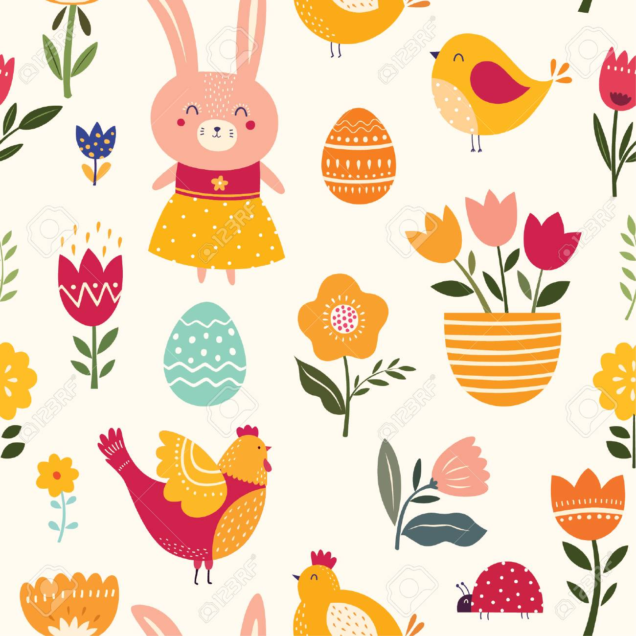 Seamless pattern with cute bunny, chicken and flowers - 97555647