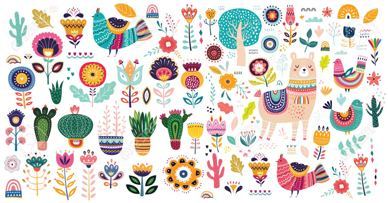 Big vector collection with cute llama, cacti and flowers. - 105814882
