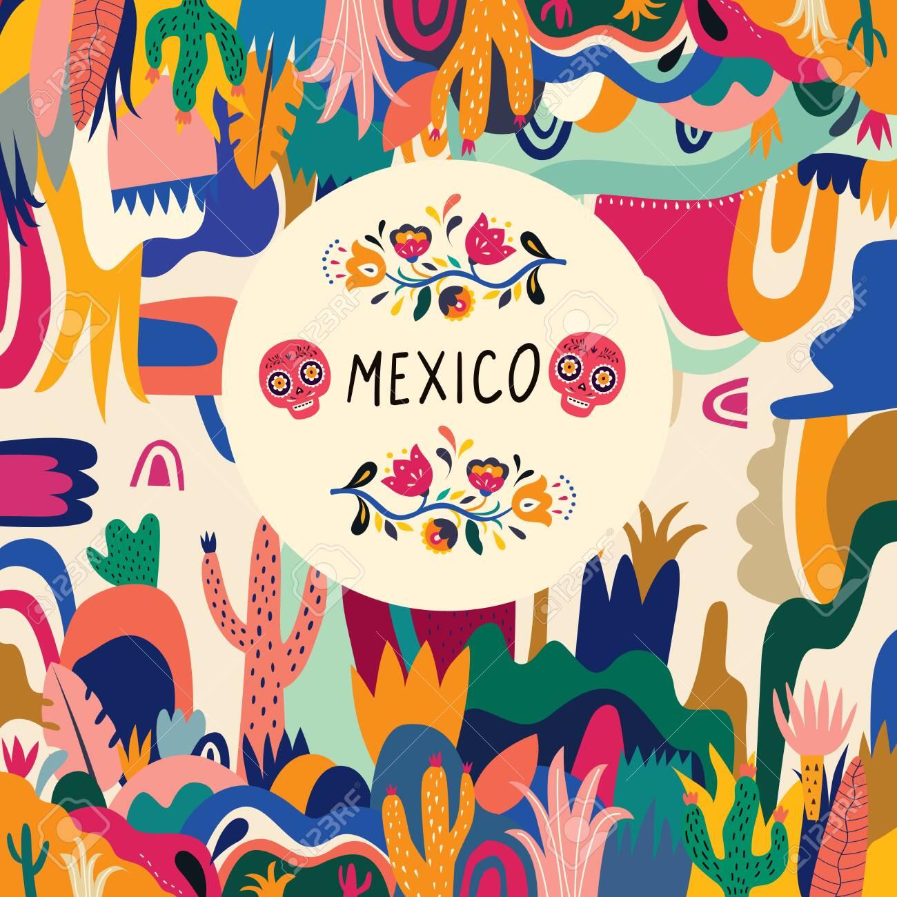 Colorful Mexican Design Stylish Artistic Mexican Decor For Mexican Holidays And Party Clip Art Libres De Droits Vecteurs Et Illustration Image 130428443