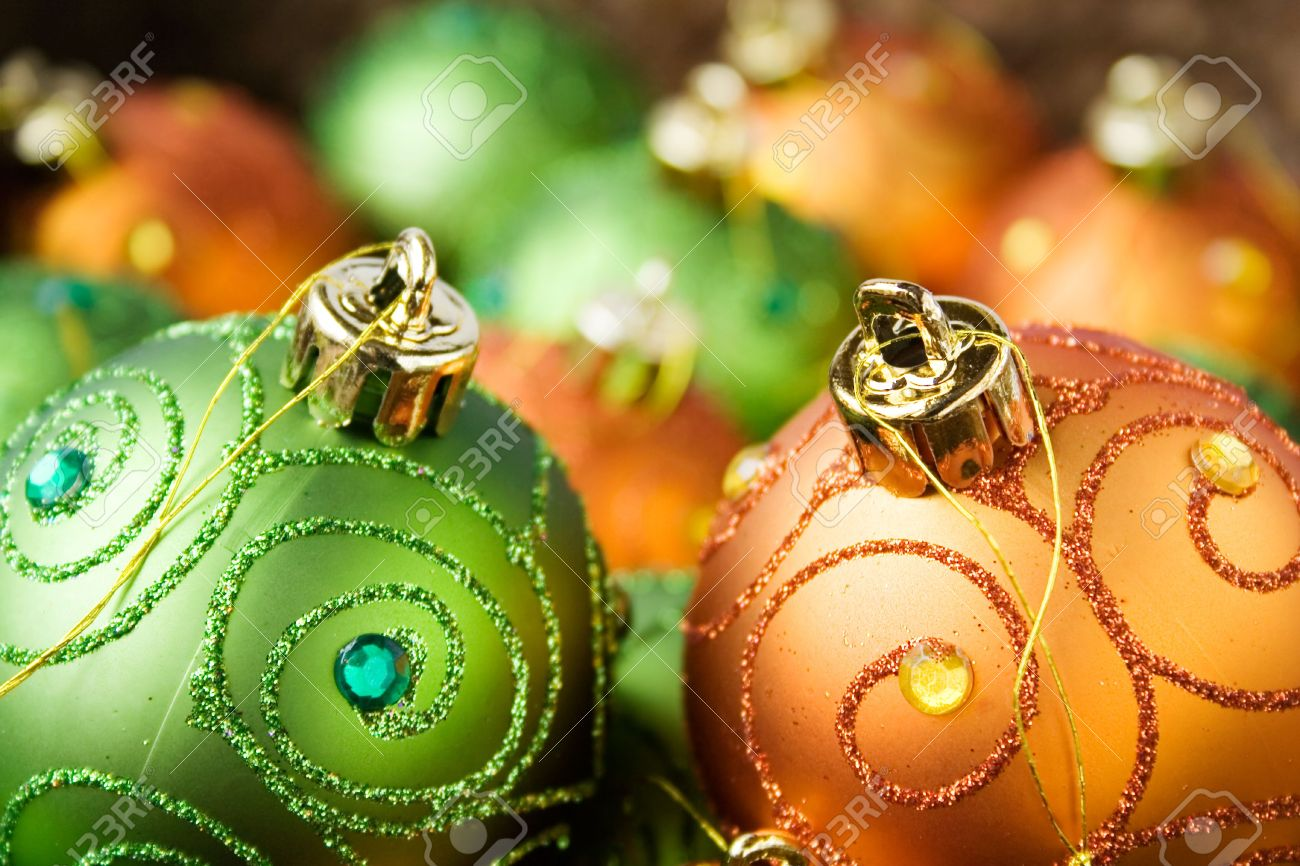 Orange And Green Christmas Tree Decorations Stock Photo Picture And Royalty Free Image Image 928526