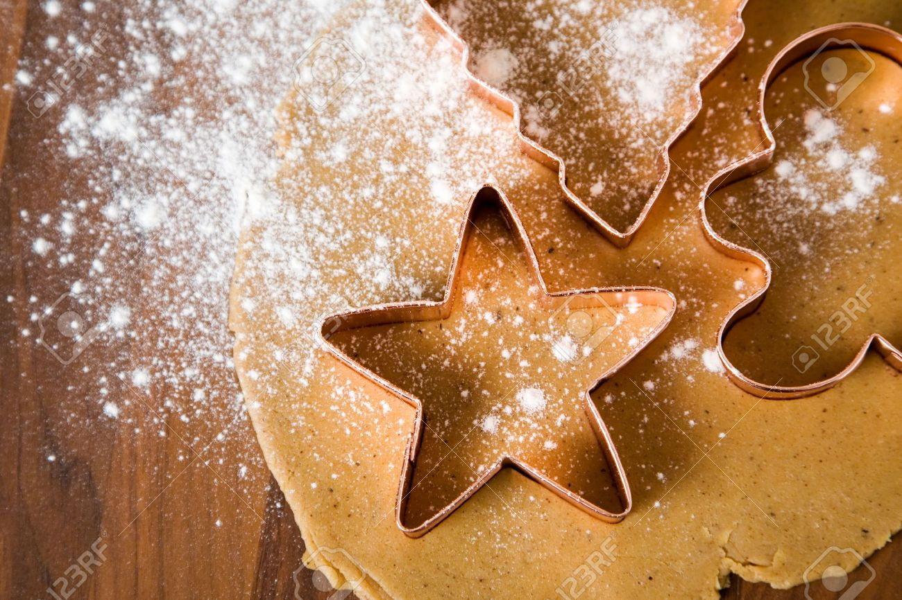 Baking Christmas Cookies With Star And Tree Motif Stock Photo ...