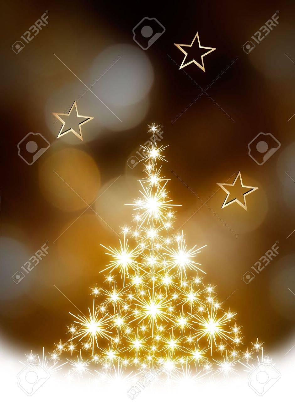 Christmas tree illustration on golden background - 3780850