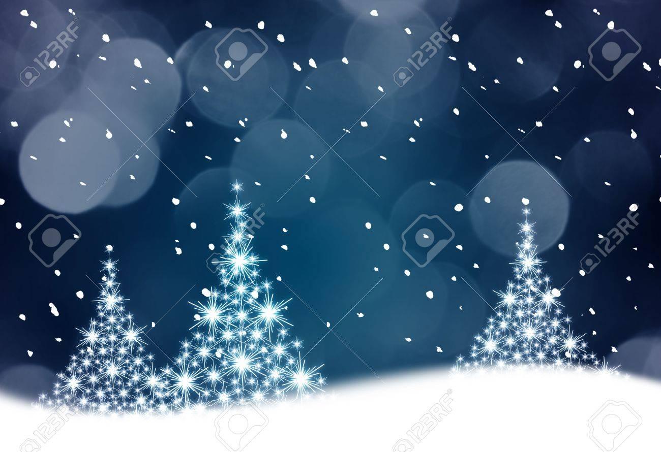 Christmas tree illustration on blue background Stock Illustration - 3784257
