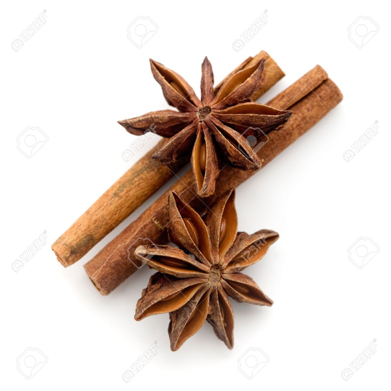 star anis and cinnamon stick on white stock photo picture and