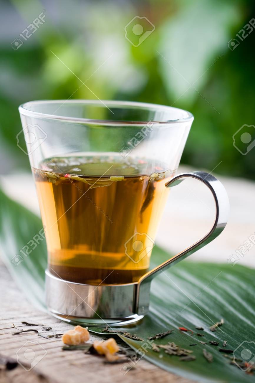 Cup of chinese green tea in glass Stock Photo - 8858380