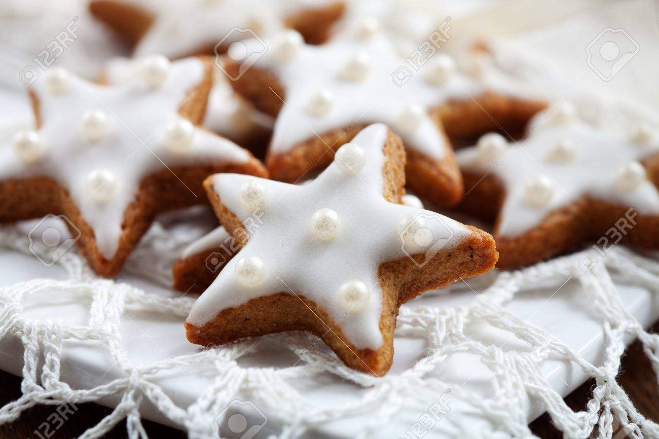 Christmas cookies with white icing, selective focus Stock Photo - 10732210
