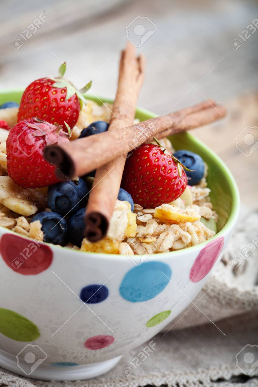 Breakfast muesli with dried fruits and seeds Stock Photo - 14666714