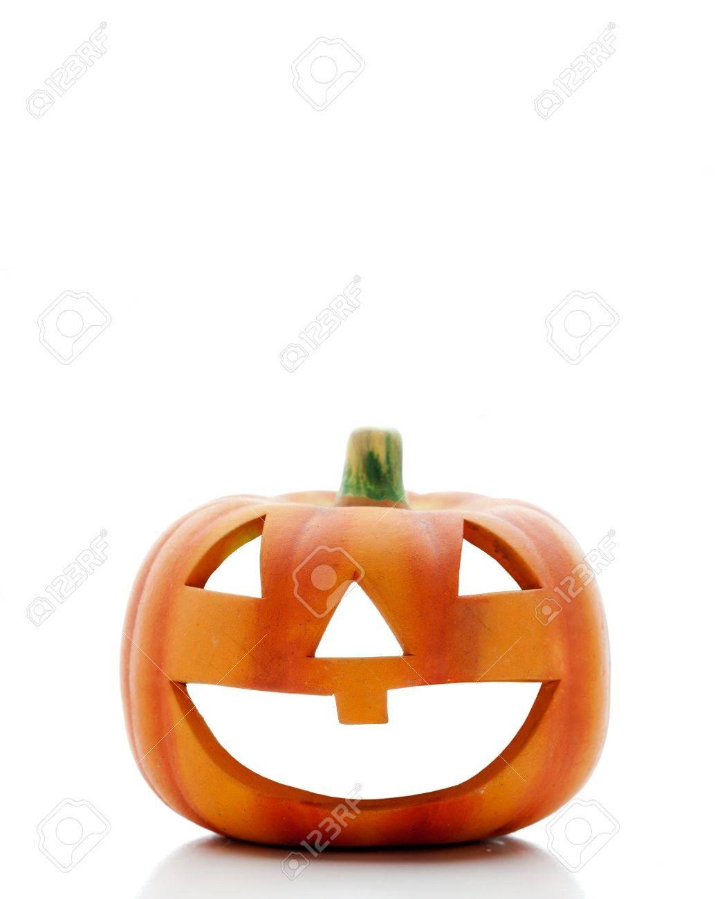 Orange halloween pumpkin isolated on white background Stock Photo - 14960857