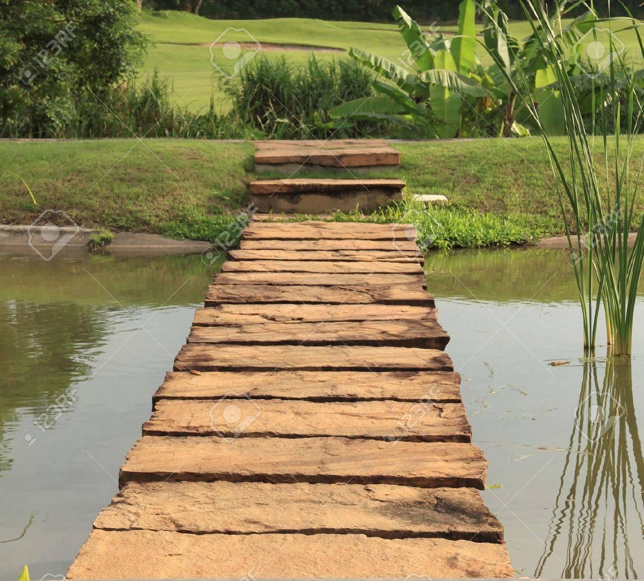 Stone path across pond lead to green garden Stock Photo - 16378022