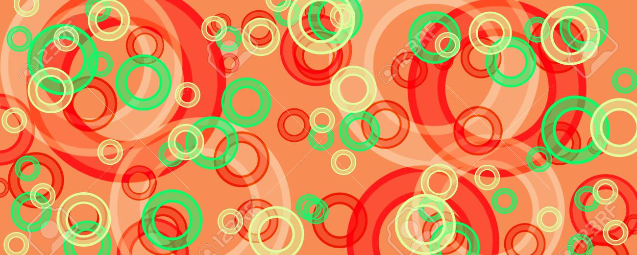 banner of multicolored circles on a green background Stock Photo - 16269439