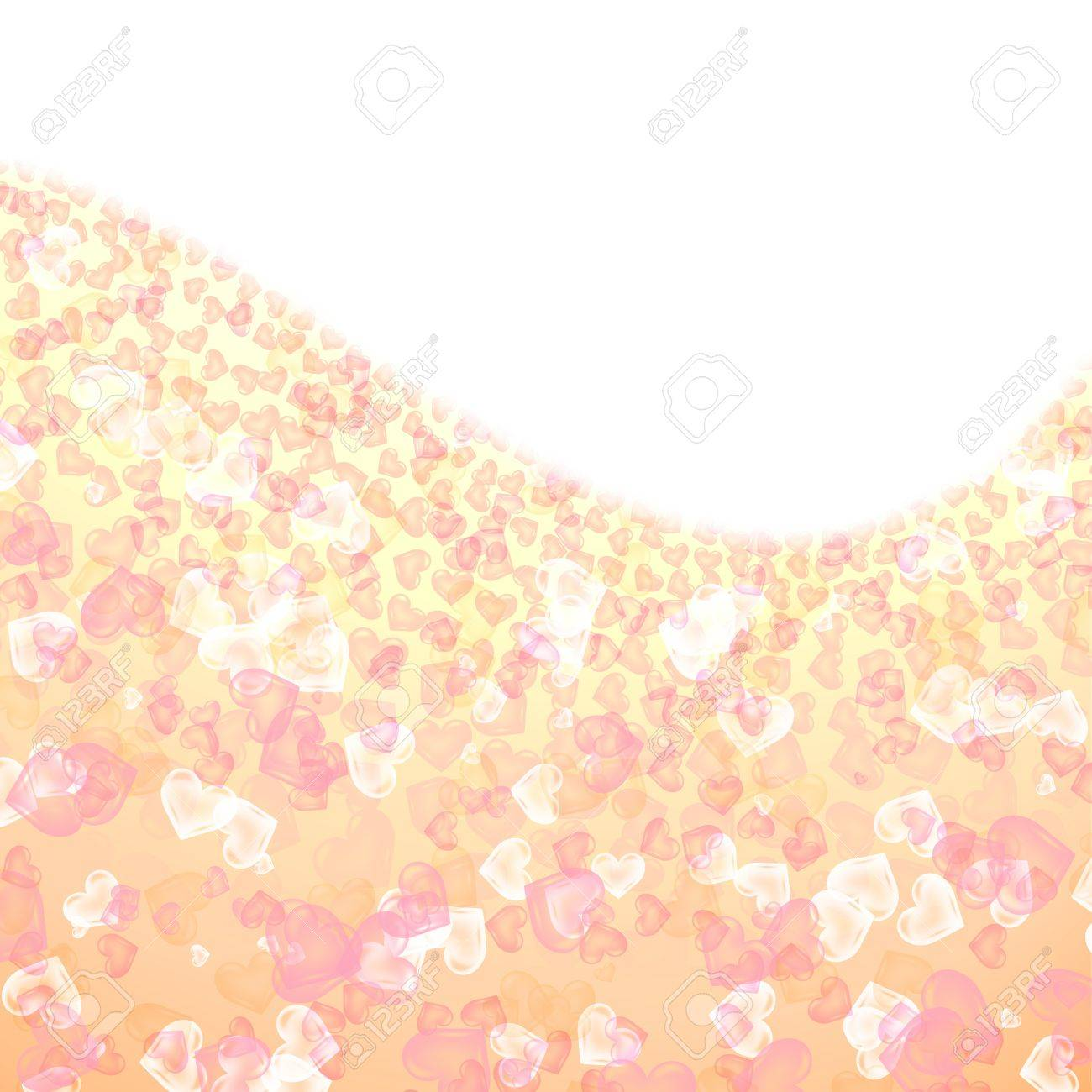 romantic abstract background of colored hearts on a curved field Stock Photo - 16320318