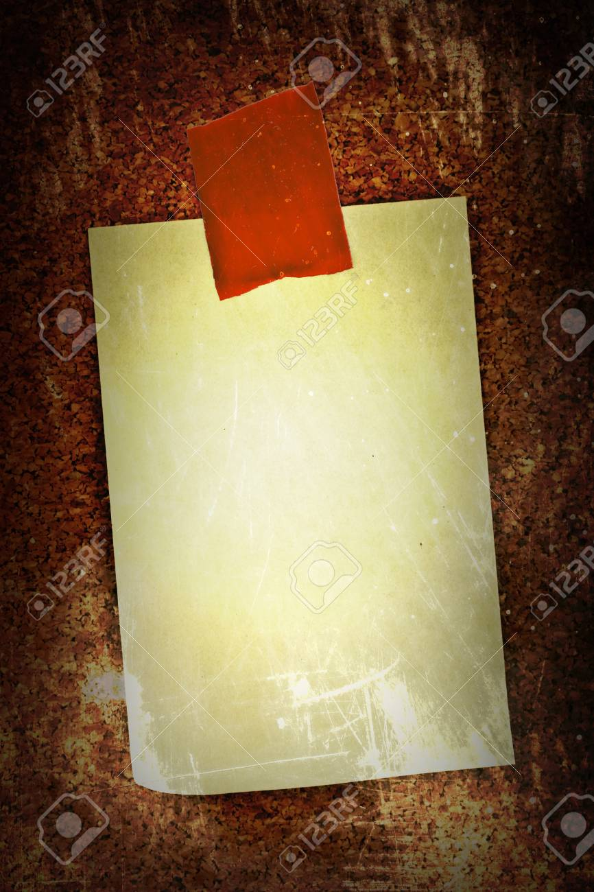 blank sticker glued red ribbon to a cork board Stock Photo - 16328238
