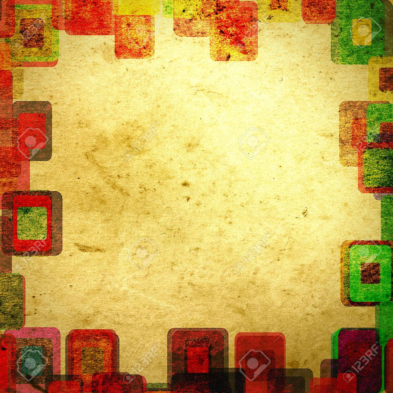 frame grunge squares on the wall, abstract background Stock Photo - 16329415