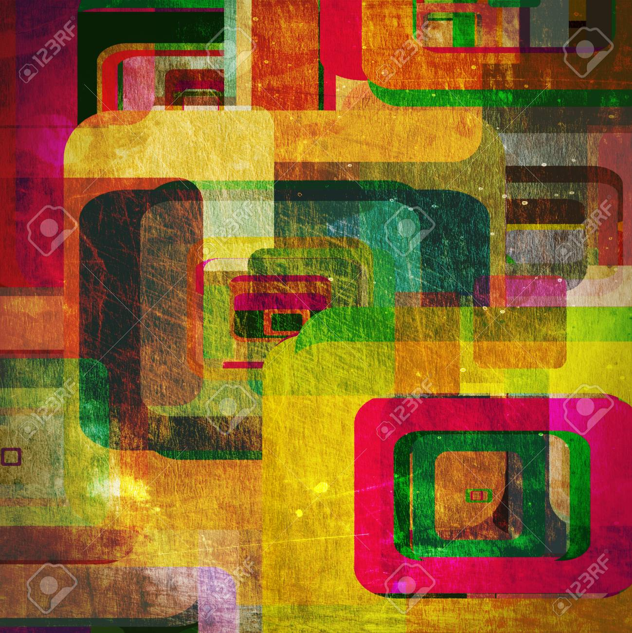 squares on the grunge wall, abstract background Stock Photo - 16341162