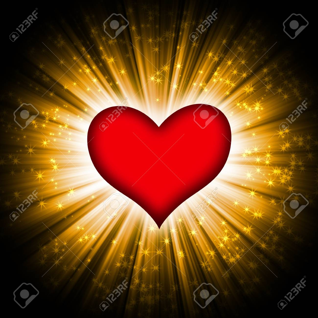 red heart with rays on a black background, abstract Stock Photo - 16487620