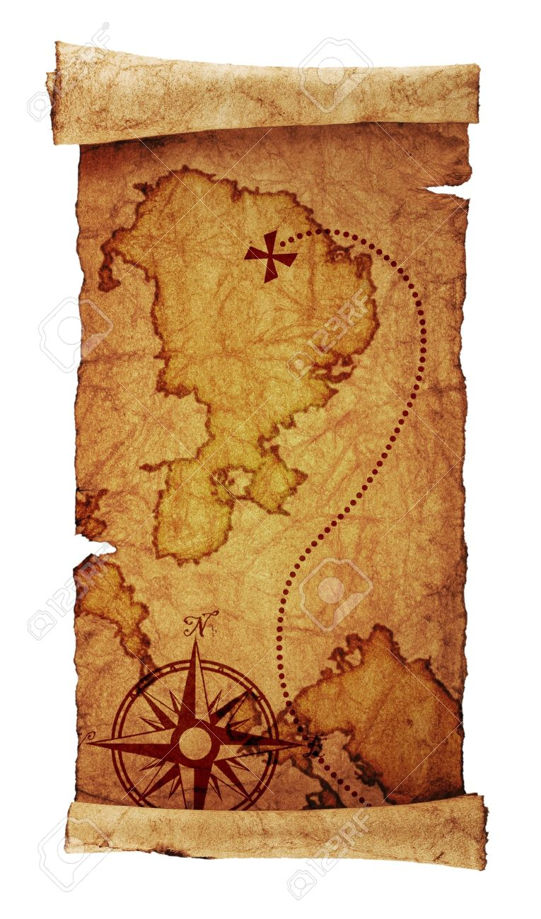 old treasure map, isolated on white Stock Photo - 16487689