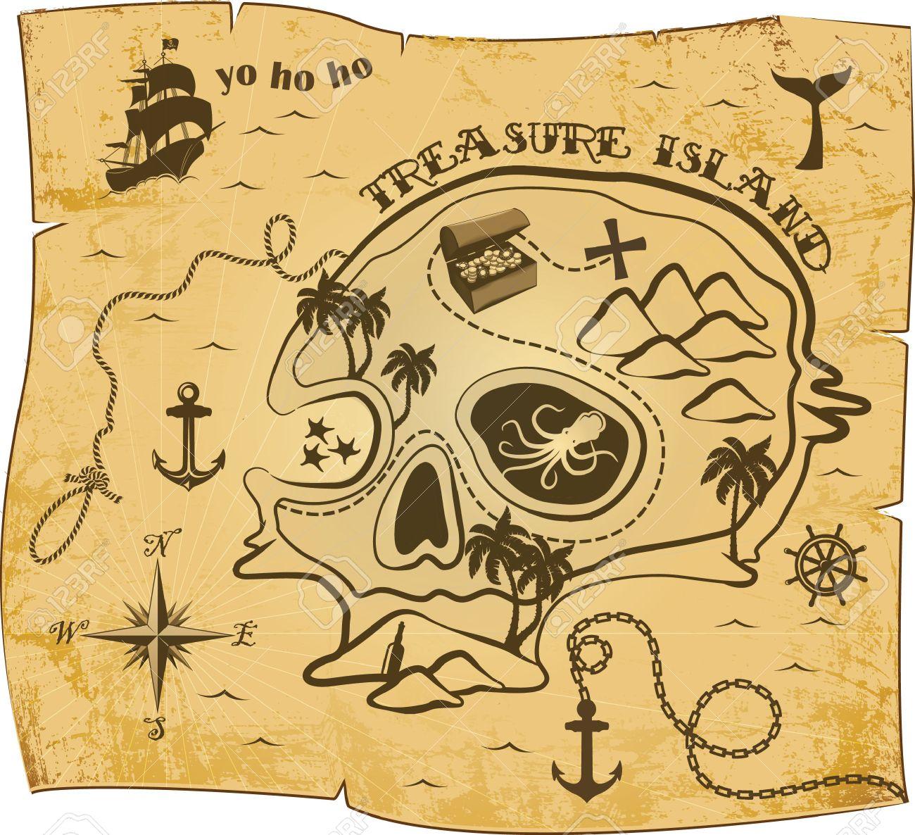 Mapa De Patron De Pirata Ilustraciones Vectoriales Clip Art