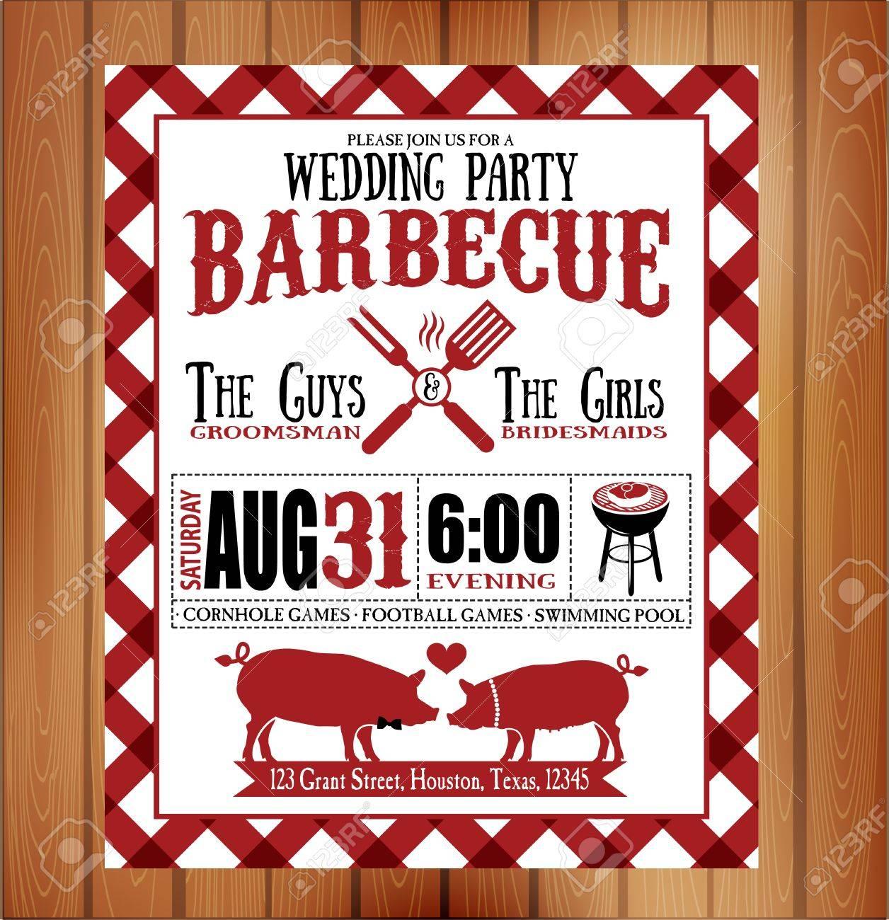 Vintage Barbecue Wedding Invitation Card Royalty Free Cliparts ...
