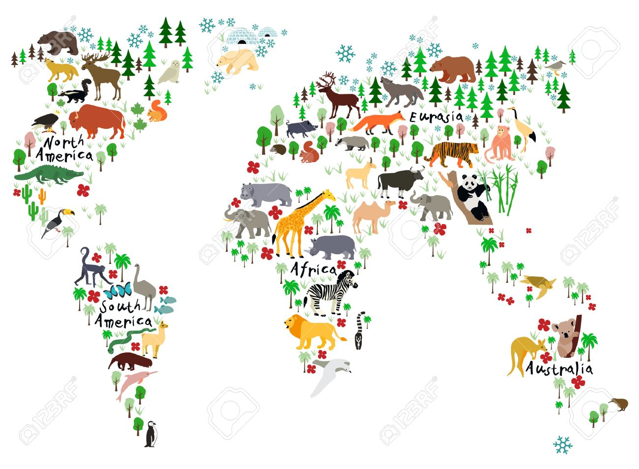 animal map of the world for children and kids stock photo picture