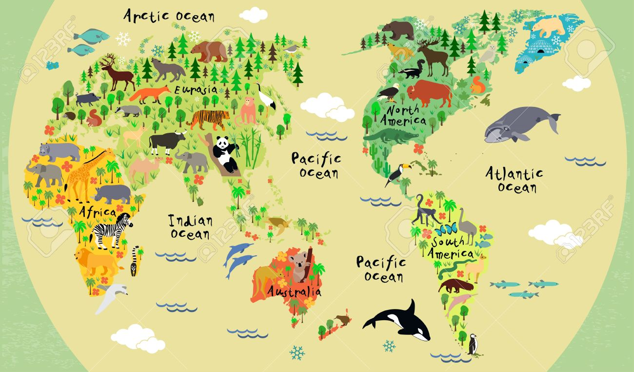 animal map of the world for children and kids stock vector 35994790