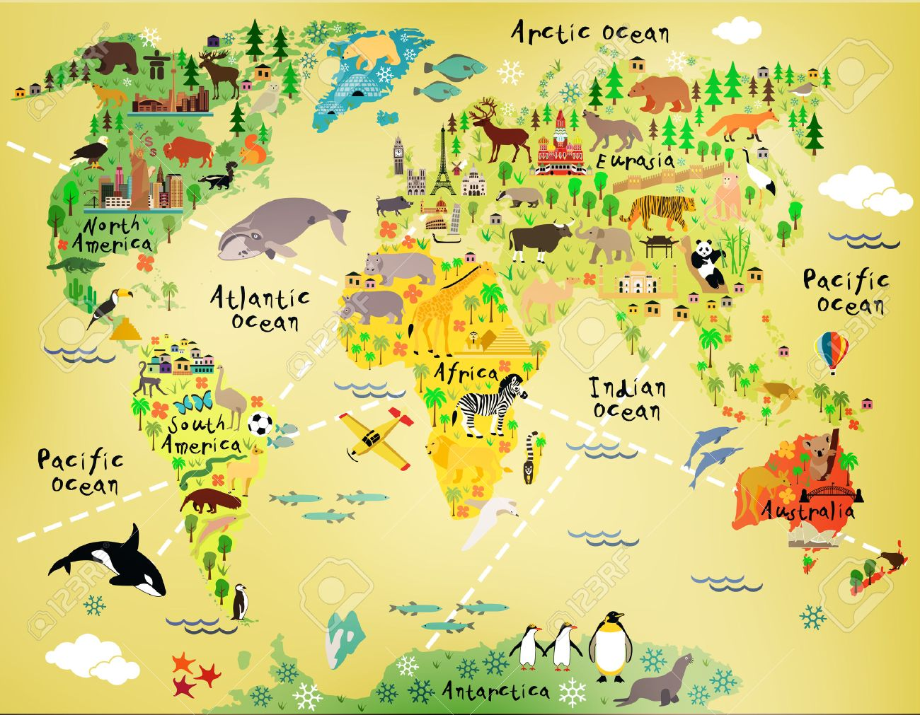 Cartoon World Map Royalty Free Cliparts Vectors And Stock - World map america