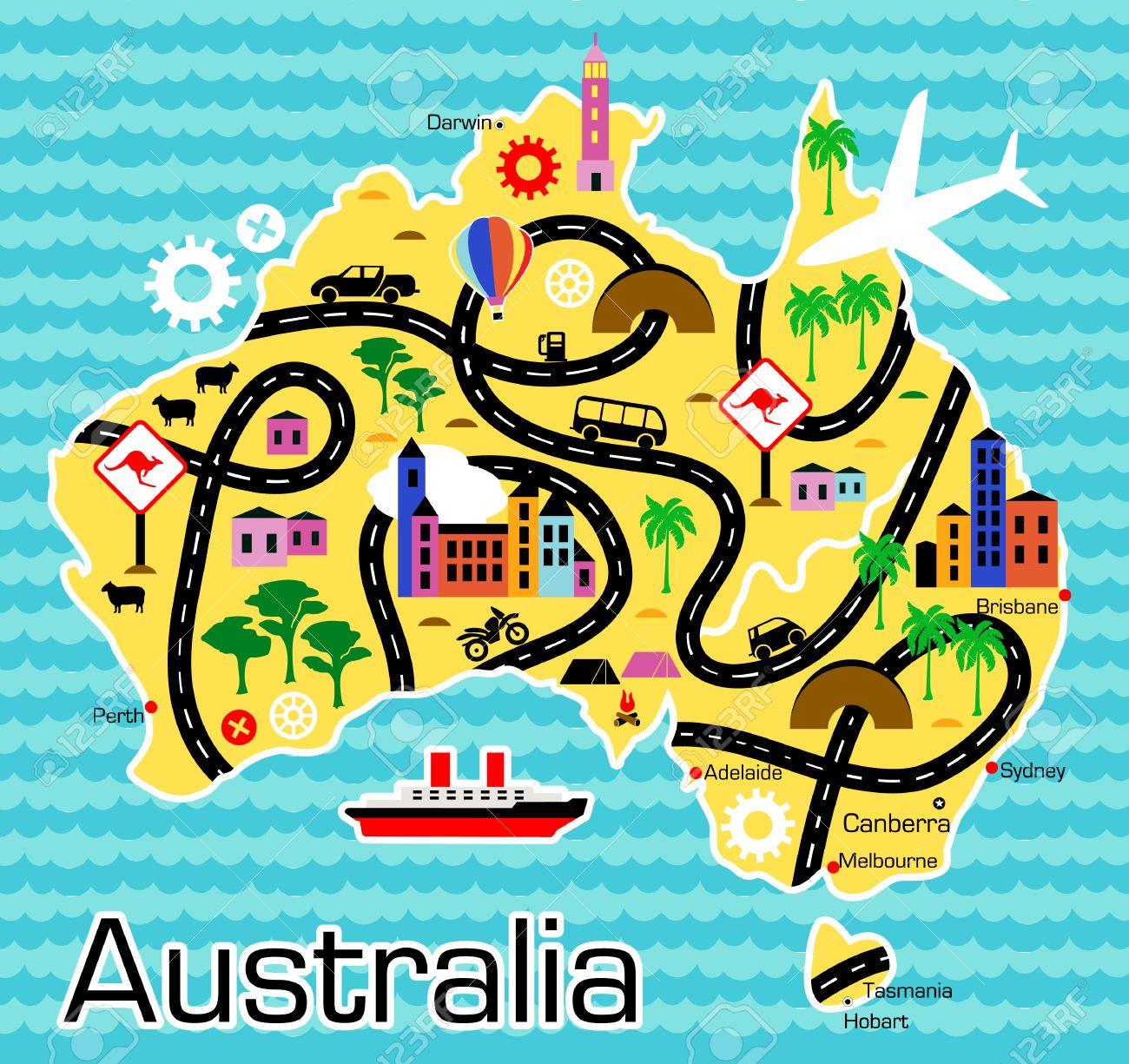 Australia Map Cartoon.Cartoon Map Of Australia Royalty Free Cliparts Vectors And Stock