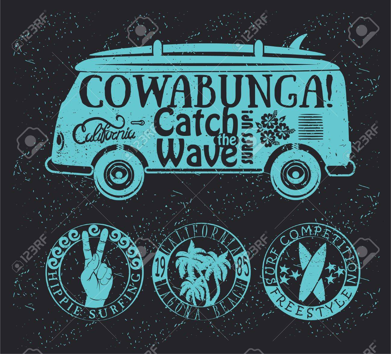 458f372109c Set Of Vintage Surfing Graphics And Emblems Royalty Free Cliparts ...