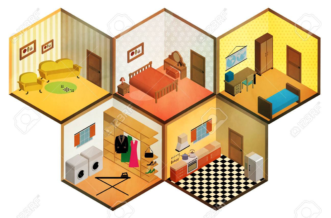 All rooms in the house rooms of homes vector art image illustration - Vector Isometric Rooms Icon Stock Vector 36880583