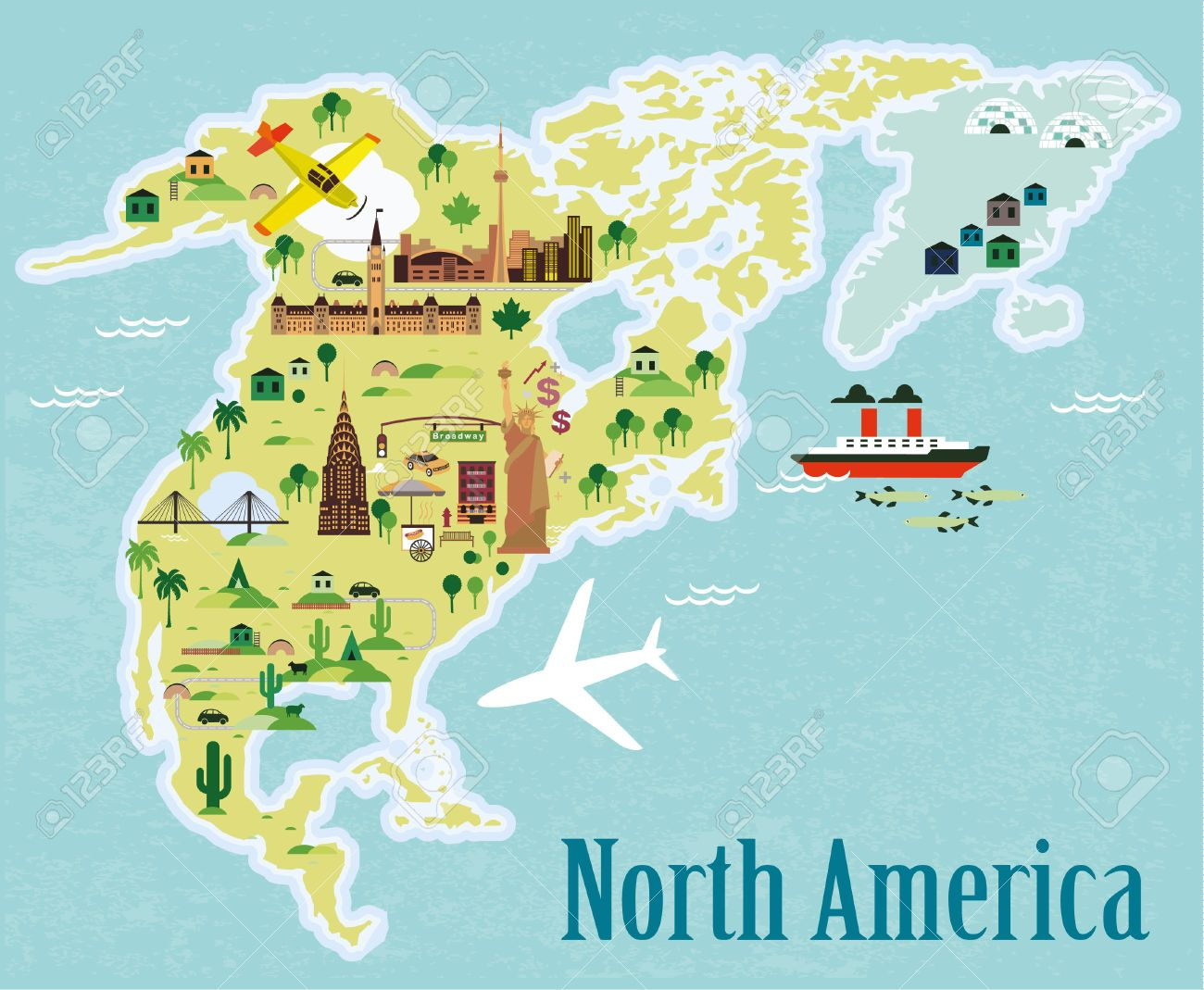 Cartoon Map North America Royalty Free Cliparts Vectors And