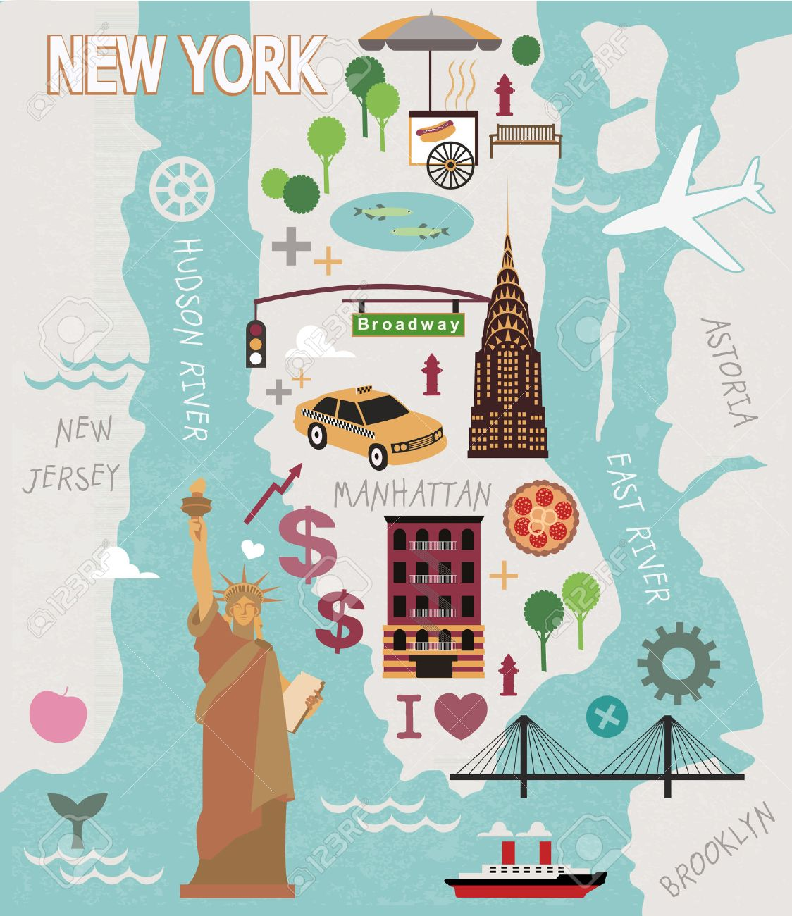 cartoon map of new york city stock vector 36880689
