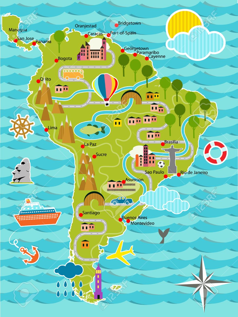 Amazon River Cliparts Stock Vector And Royalty Free Amazon - Map of south america amazon river