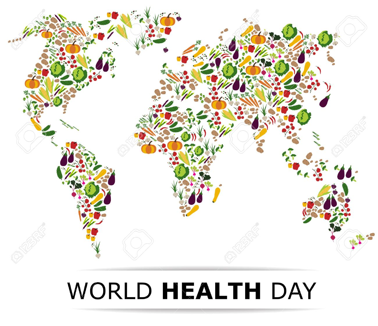 Nutrition food for healthy life world health day concept cartoon nutrition food for healthy life world health day concept cartoon world map stock gumiabroncs Gallery