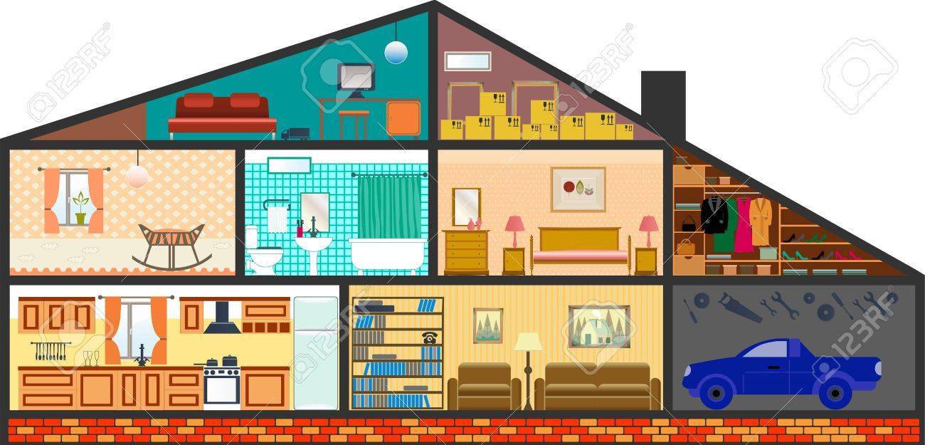 House Cartoon Interior Cartoon Living Rooms With Furniture Royalty Free Cliparts Vectors And Stock Illustration Image 38569847
