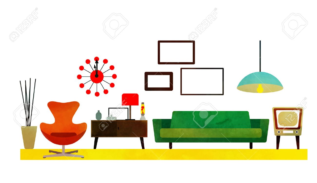 Retro Living Room Design With Furniture Flat Style Vector Illustration Stock