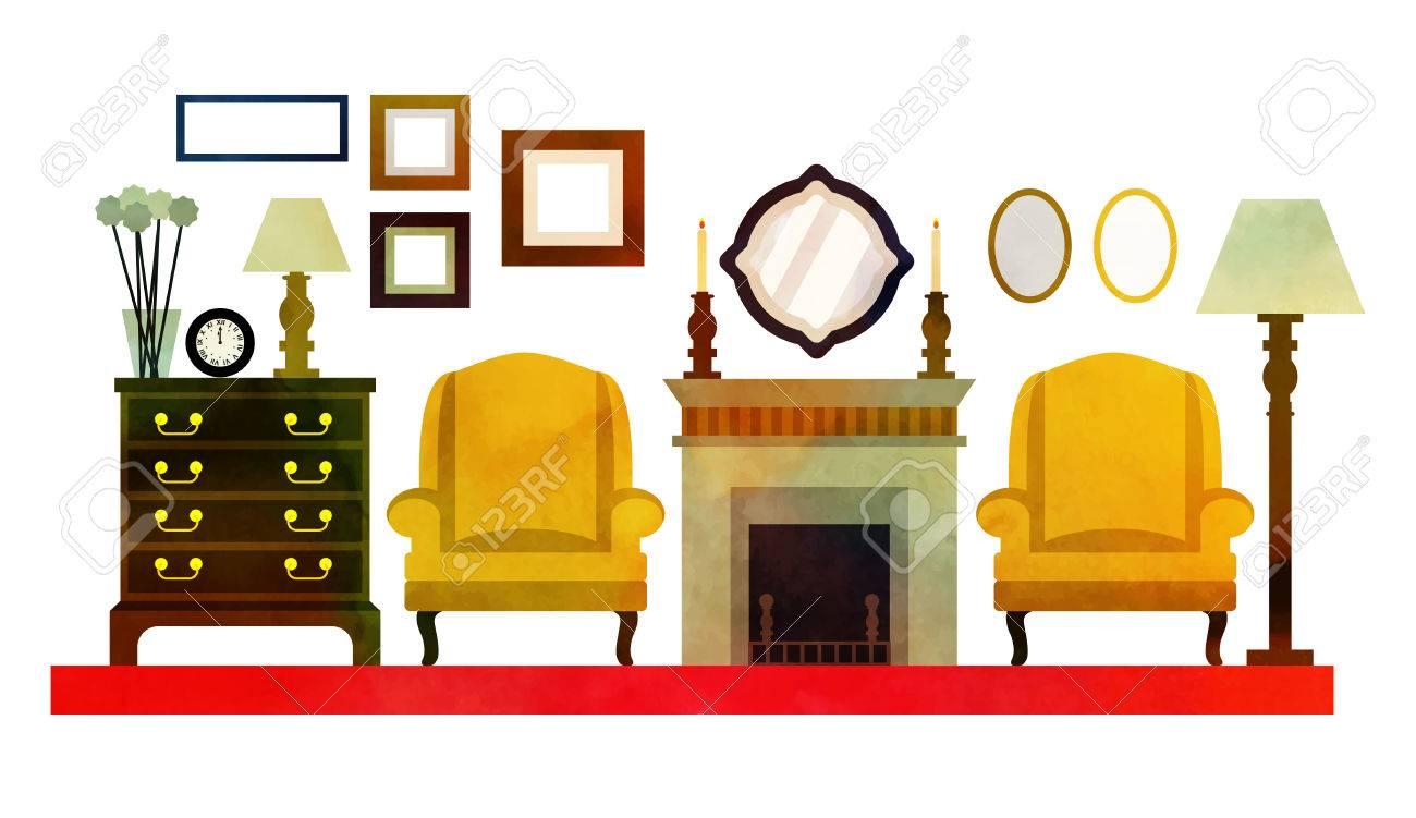 anglais salon design avec des meubles. plat illustration ... - Meuble Design Anglais