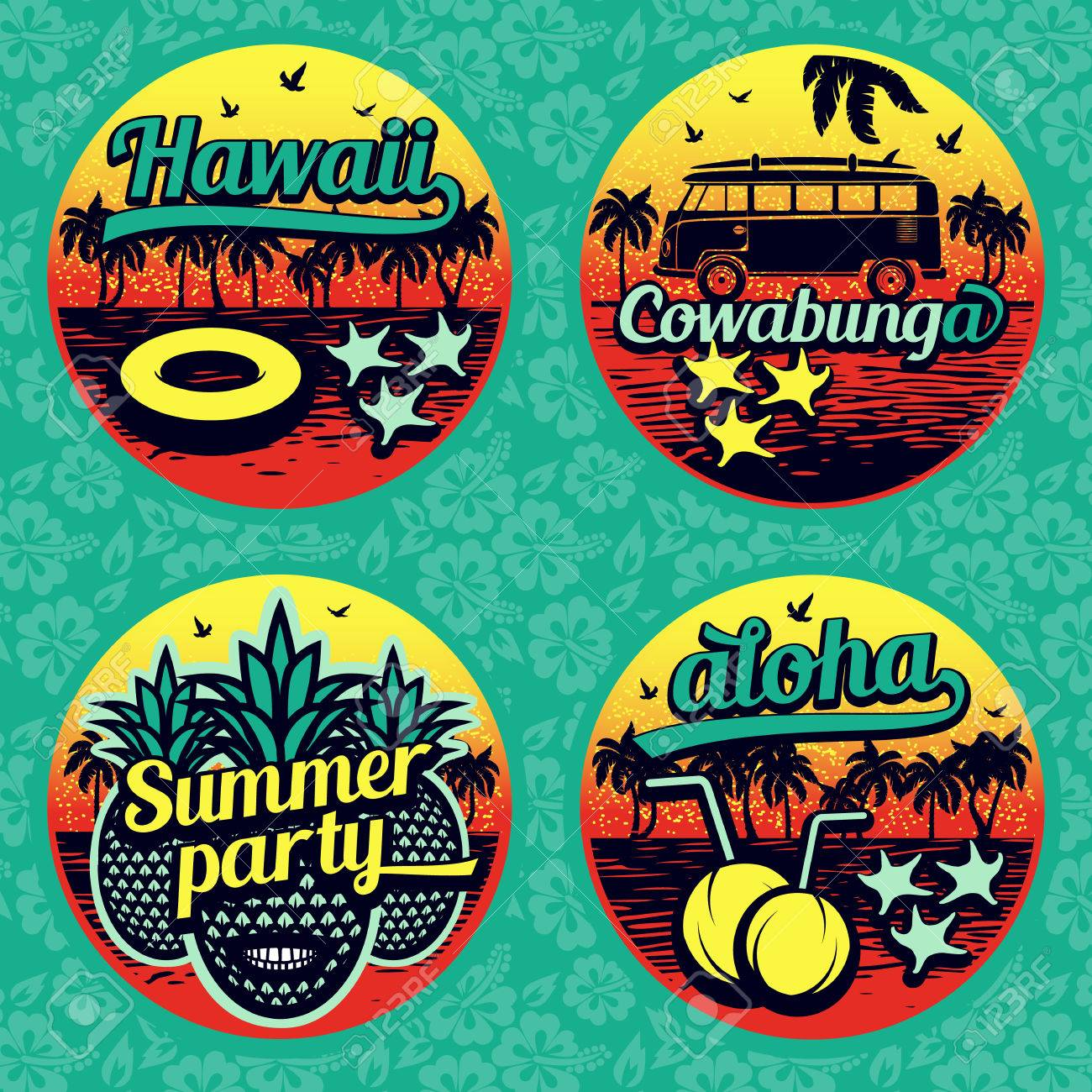 Vintage summer labels collection retro design stickers stock vector 41251553
