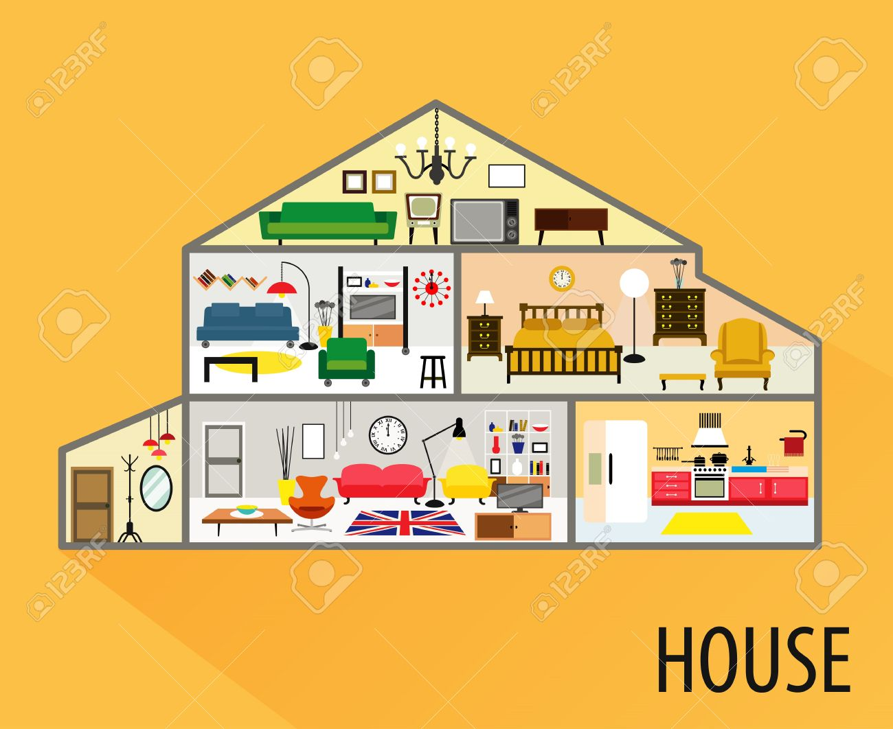 All rooms in the house rooms of homes vector art image illustration - House Cartoon Interior Cartoon Living Rooms With Furniture Stock Vector 41754298