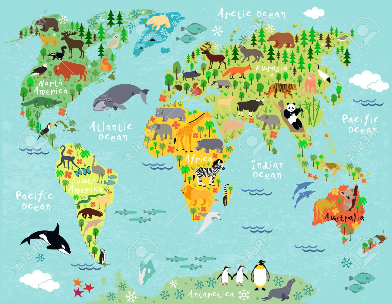 Animal Map Of The World For Children And Kids Royalty Free Cliparts