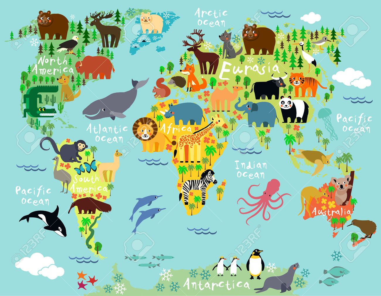 Animal Map Of The World For Children And Kids Royalty Free Cliparts on