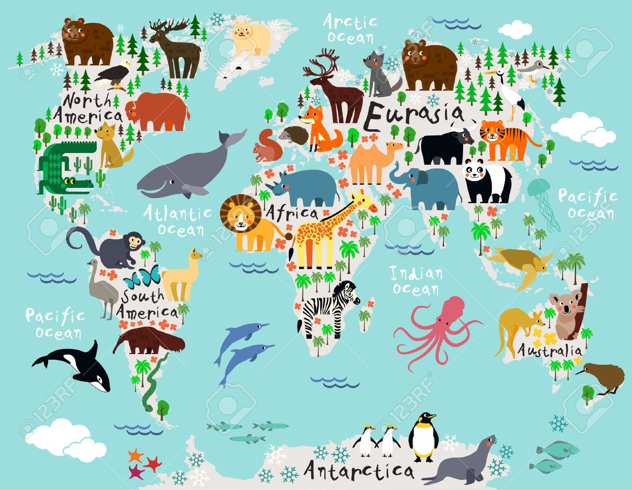 Animal map of the world for children and kids Stock Vector - 41878962