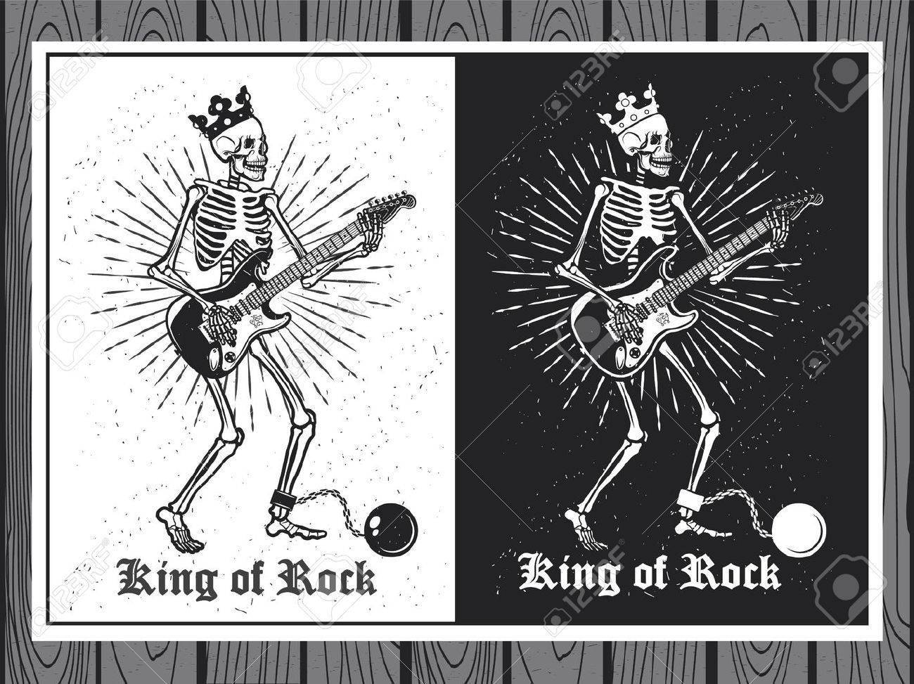 Illustration of human skeleton with guitar. King of Rock. Skeleton guitar player. - 43335411