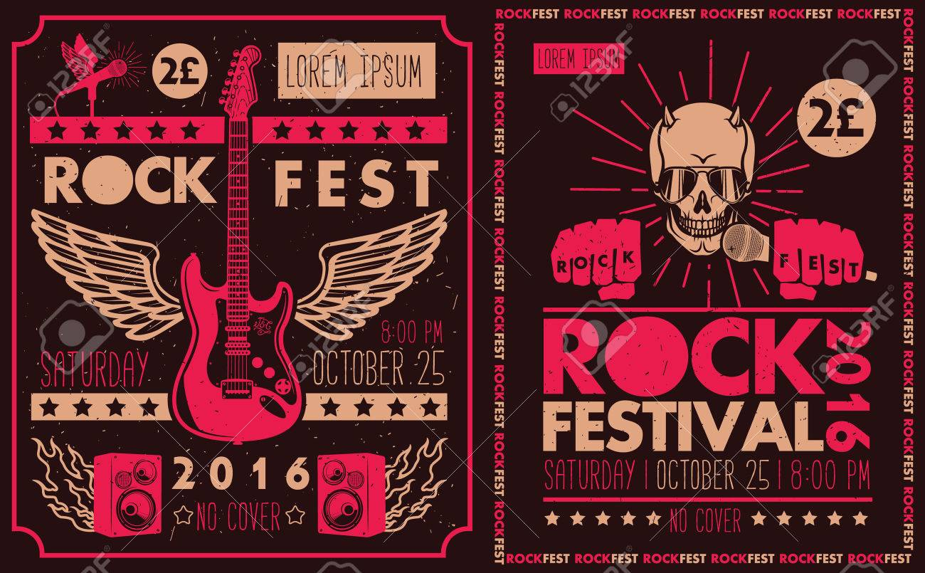 Vintage rock festival posters  Set of vector symbols related